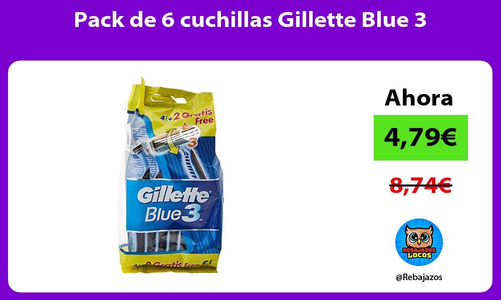 Pack de 6 cuchillas Gillette Blue 3