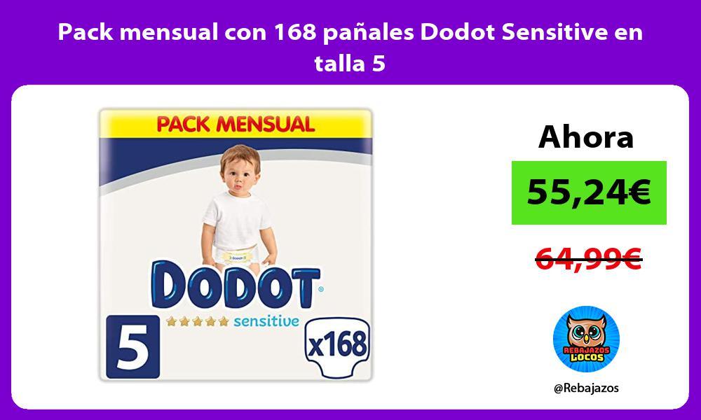Pack mensual con 168 panales Dodot Sensitive en talla 5