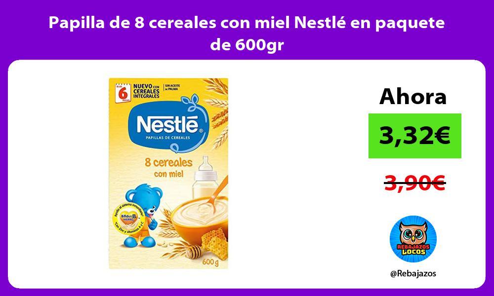 Papilla de 8 cereales con miel Nestle en paquete de 600gr