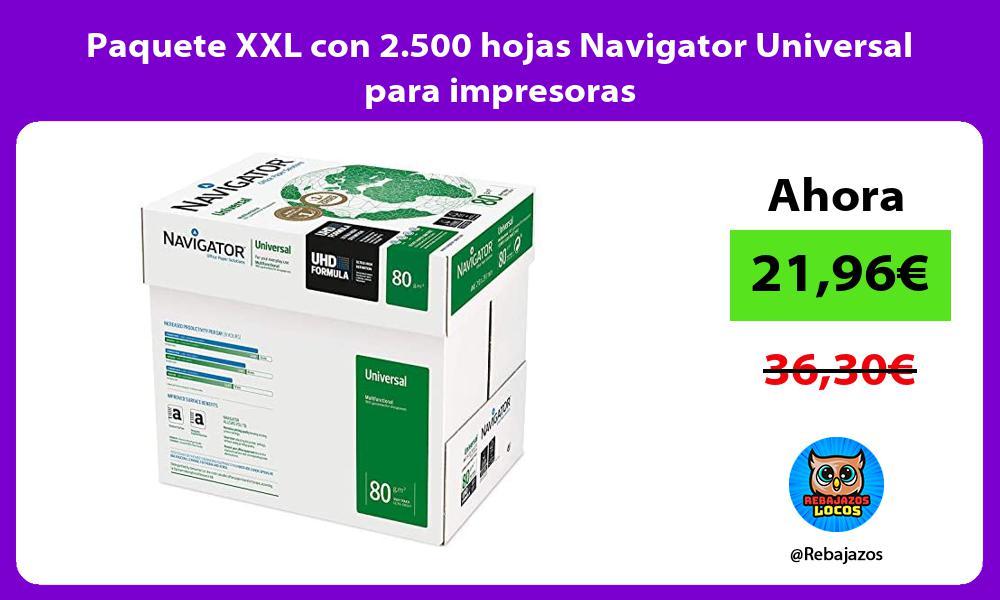Paquete XXL con 2 500 hojas Navigator Universal para impresoras