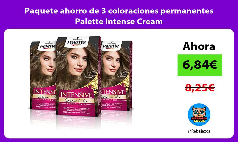 Paquete ahorro de 3 coloraciones permanentes Palette Intense Cream