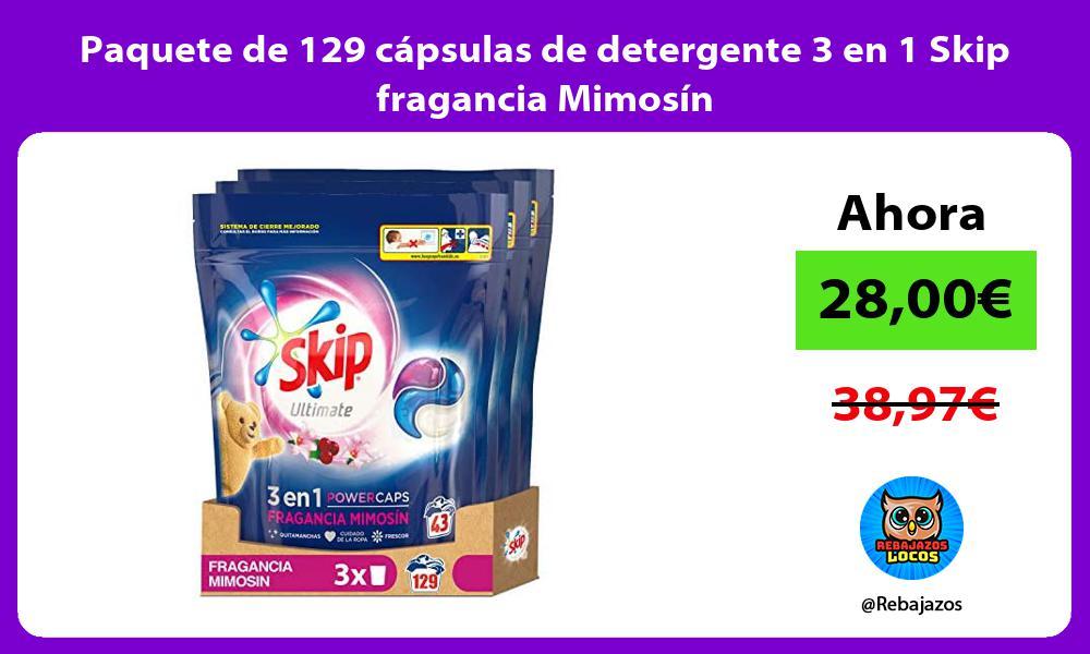 Paquete de 129 capsulas de detergente 3 en 1 Skip fragancia Mimosin