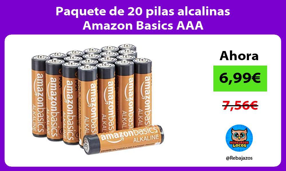 Paquete de 20 pilas alcalinas Amazon Basics AAA