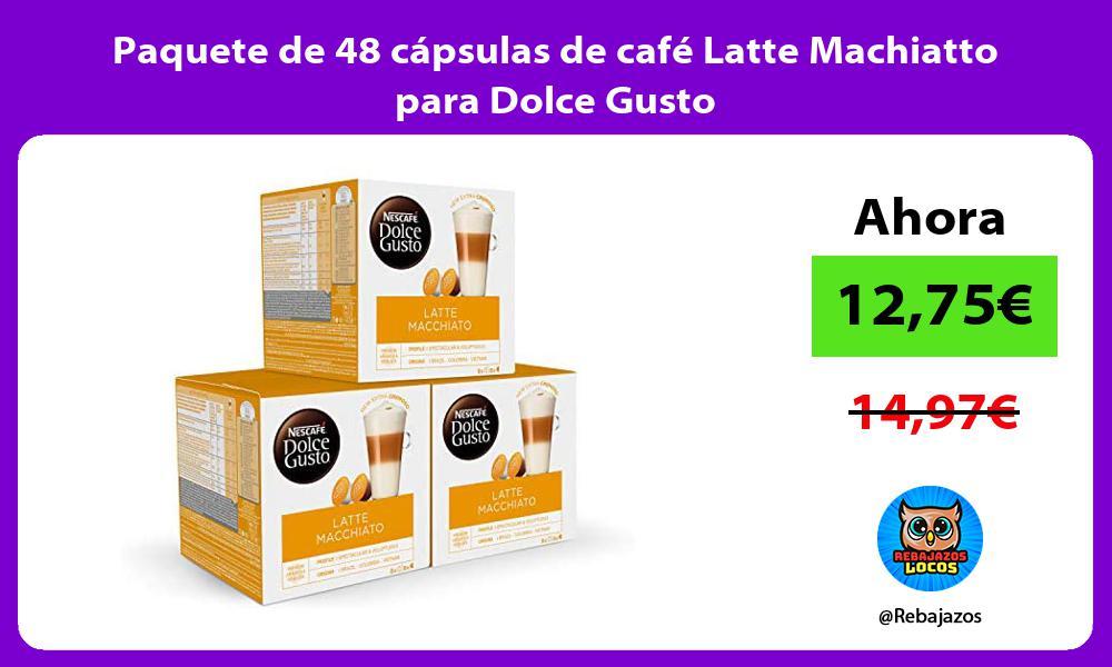 Paquete de 48 capsulas de cafe Latte Machiatto para Dolce Gusto