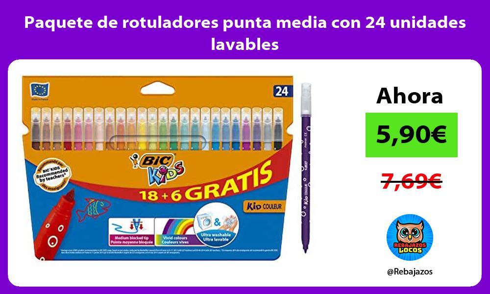 Paquete de rotuladores punta media con 24 unidades lavables