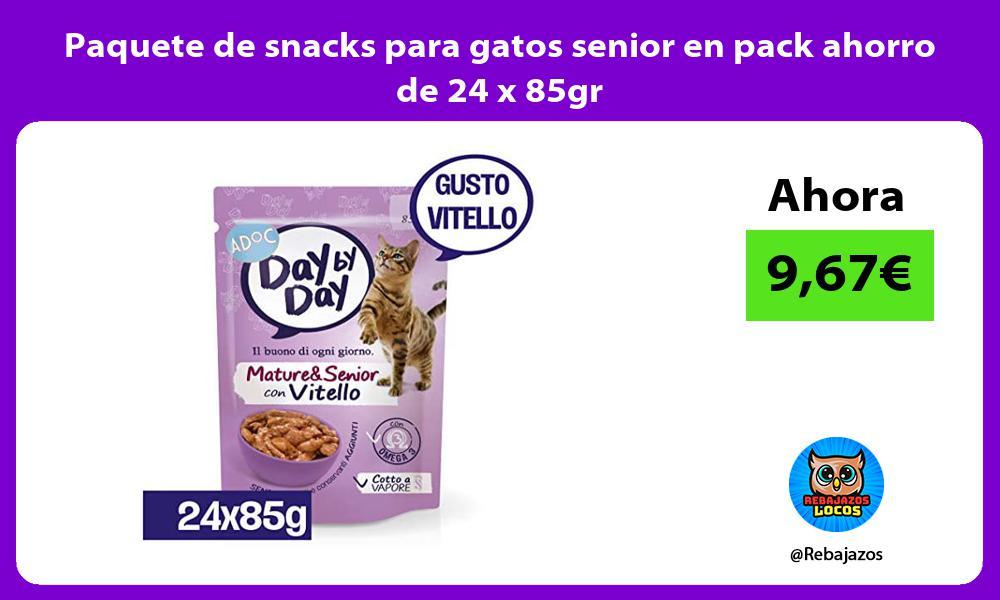 Paquete de snacks para gatos senior en pack ahorro de 24 x 85gr
