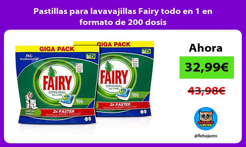 Pastillas para lavavajillas Fairy todo en 1 en formato de 200 dosis