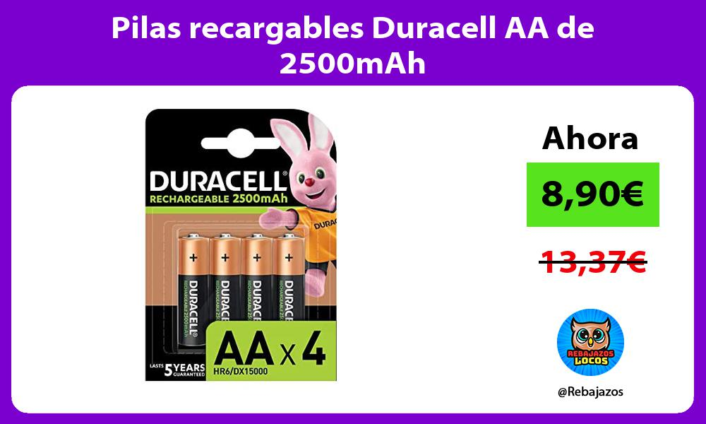 Pilas recargables Duracell AA de 2500mAh