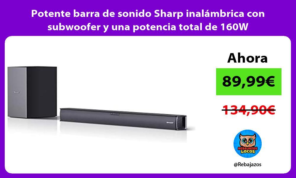 Potente barra de sonido Sharp inalambrica con subwoofer y una potencia total de 160W