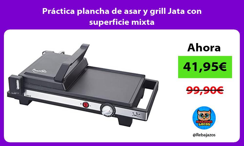 Practica plancha de asar y grill Jata con superficie mixta