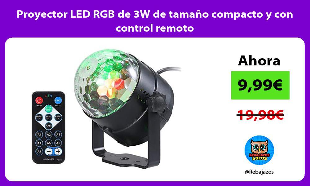 Proyector LED RGB de 3W de tamano compacto y con control remoto