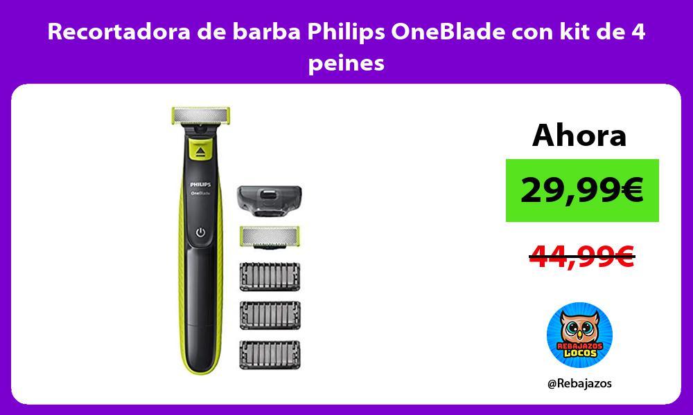 Recortadora de barba Philips OneBlade con kit de 4 peines