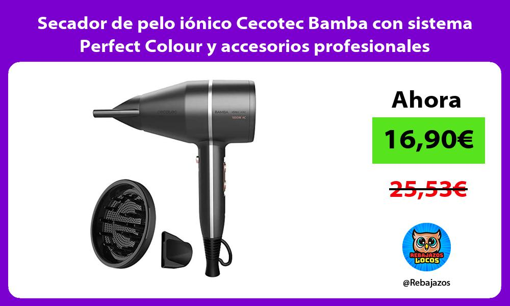 Secador de pelo ionico Cecotec Bamba con sistema Perfect Colour y accesorios profesionales