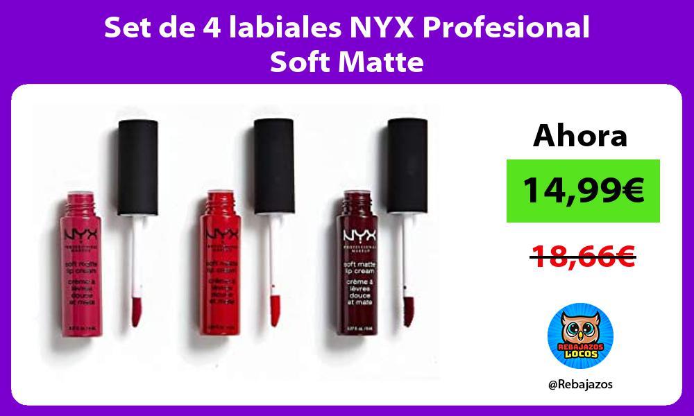 Set de 4 labiales NYX Profesional Soft Matte