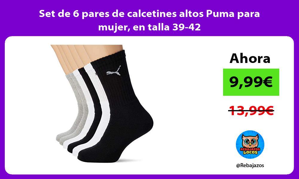 Set de 6 pares de calcetines altos Puma para mujer en talla 39 42