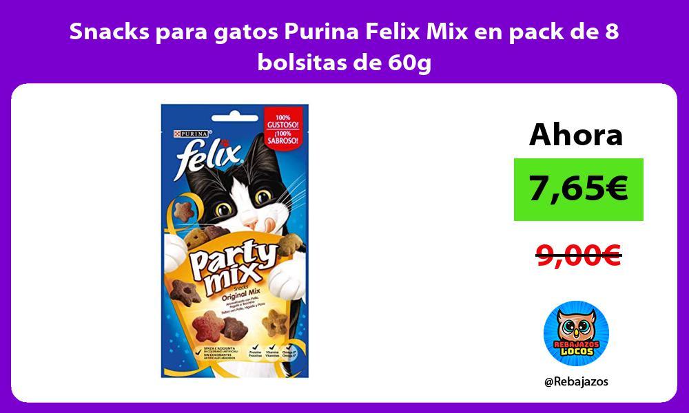 Snacks para gatos Purina Felix Mix en pack de 8 bolsitas de 60g