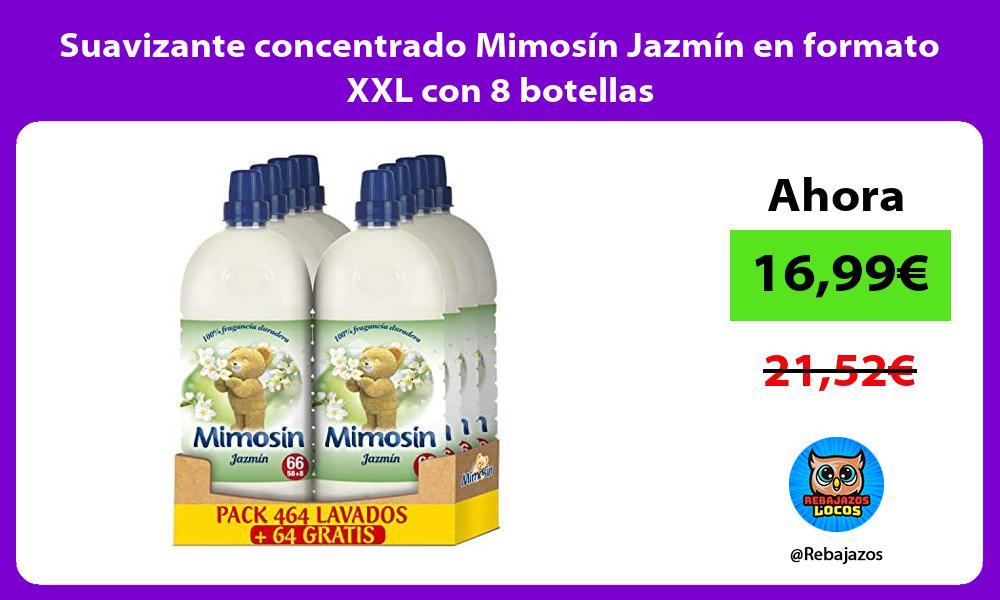 Suavizante concentrado Mimosin Jazmin en formato XXL con 8 botellas
