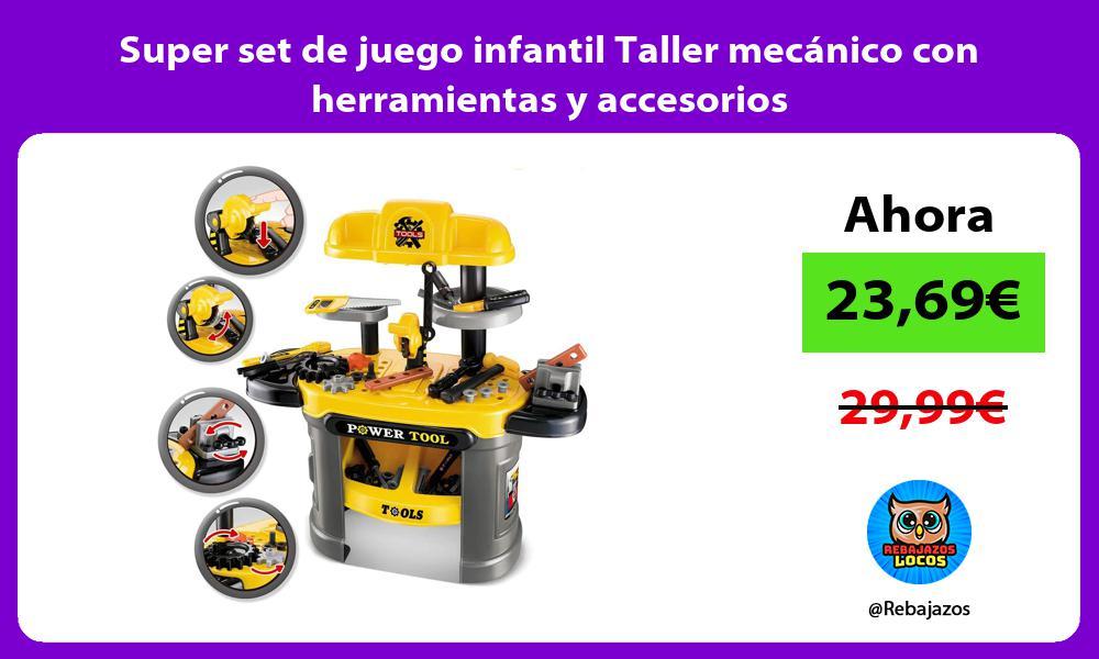 Super set de juego infantil Taller mecanico con herramientas y accesorios