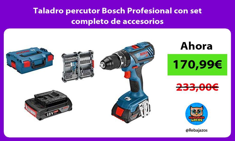 Taladro percutor Bosch Profesional con set completo de accesorios
