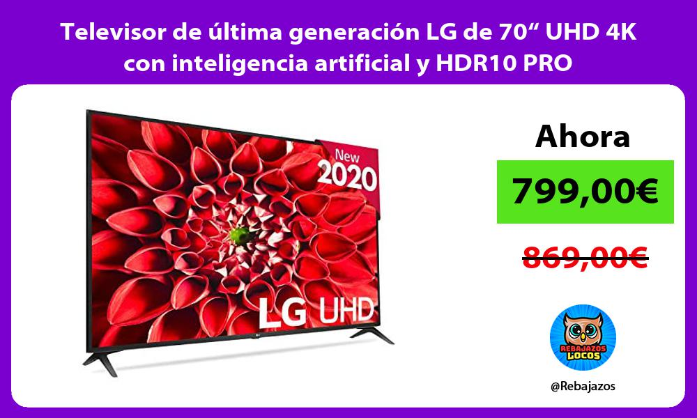 Televisor de ultima generacion LG de 70 UHD 4K con inteligencia artificial y HDR10 PRO