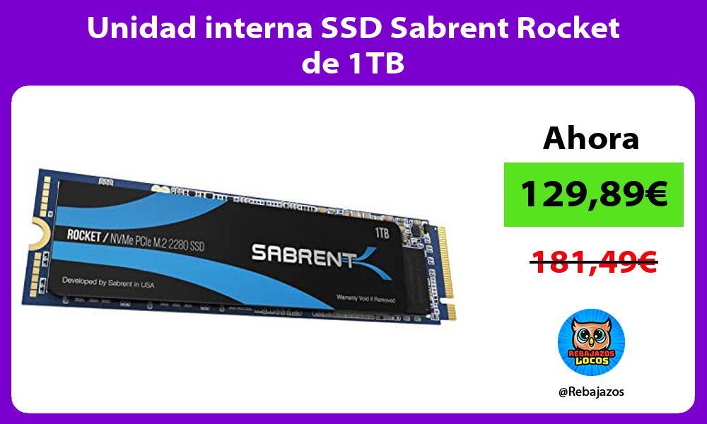 Unidad interna SSD Sabrent Rocket de 1TB