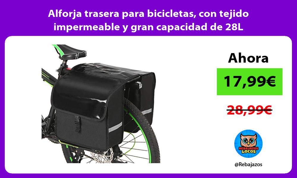 Alforja trasera para bicicletas con tejido impermeable y gran capacidad de 28L