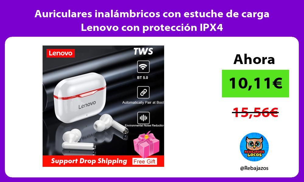Auriculares inalambricos con estuche de carga Lenovo con proteccion IPX4