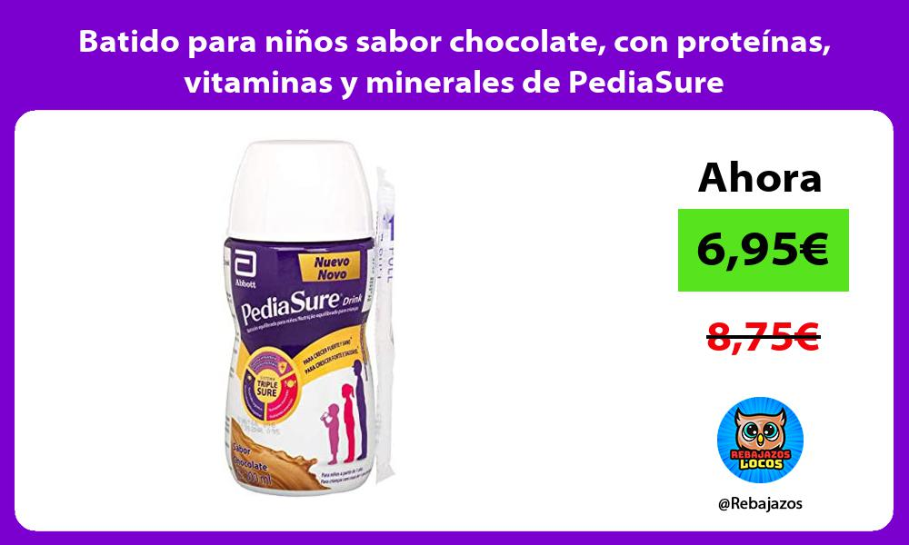 Batido para ninos sabor chocolate con proteinas vitaminas y minerales de PediaSure