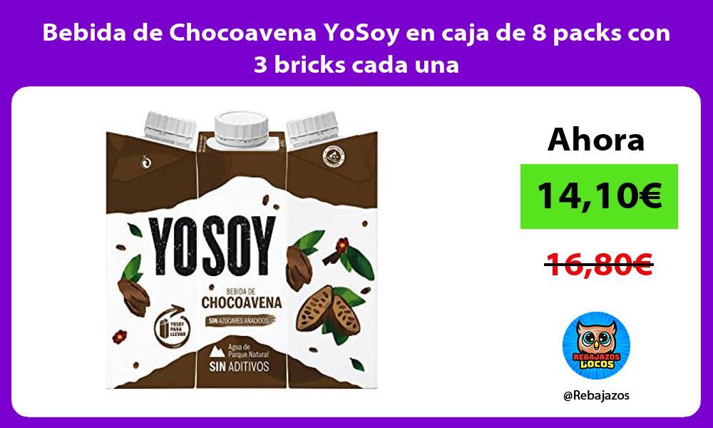 Bebida de Chocoavena YoSoy en caja de 8 packs con 3 bricks cada una