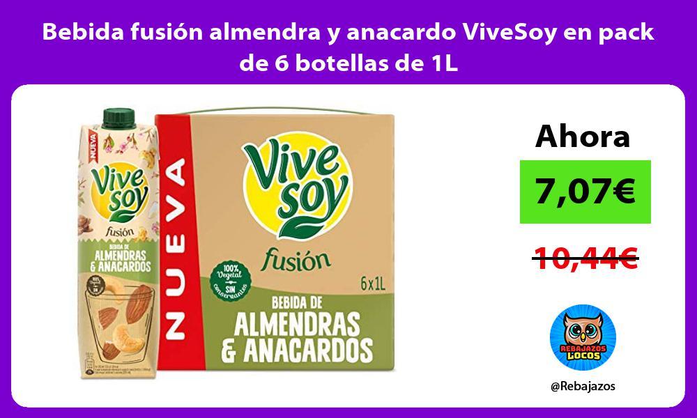 Bebida fusion almendra y anacardo ViveSoy en pack de 6 botellas de 1L