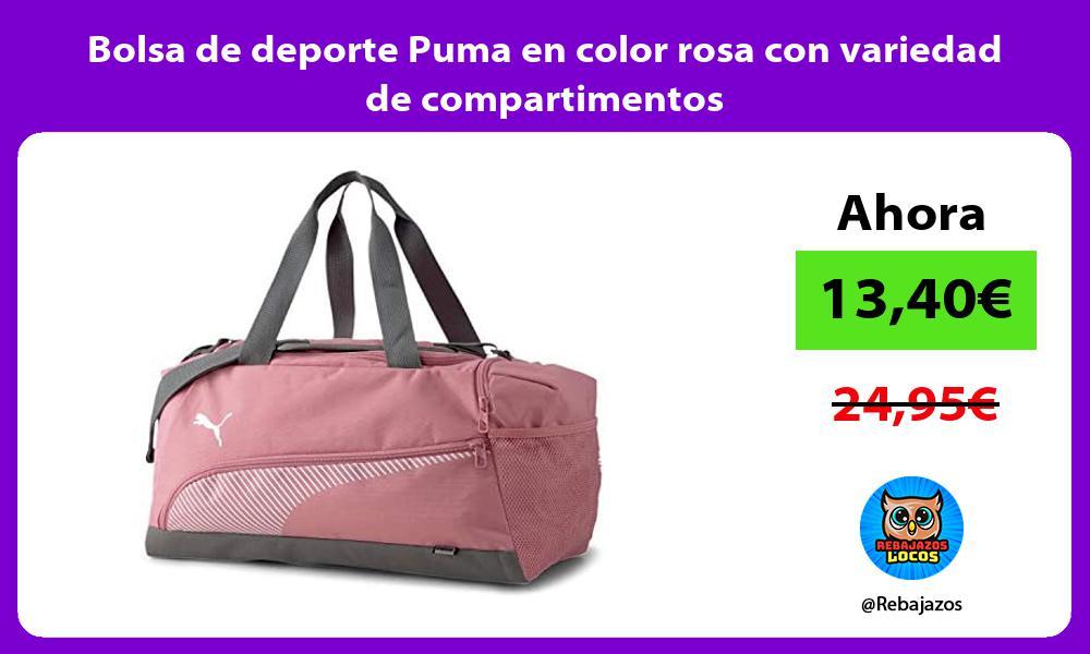 Bolsa de deporte Puma en color rosa con variedad de compartimentos