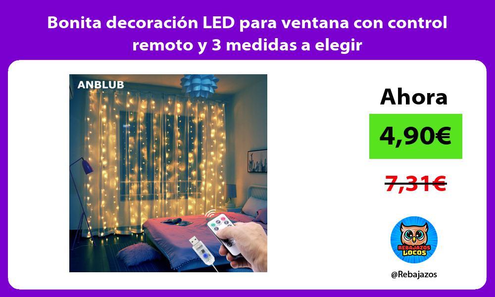 Bonita decoracion LED para ventana con control remoto y 3 medidas a elegir
