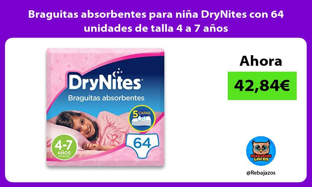 Braguitas absorbentes para nina DryNites con 64 unidades de talla 4 a 7 anos