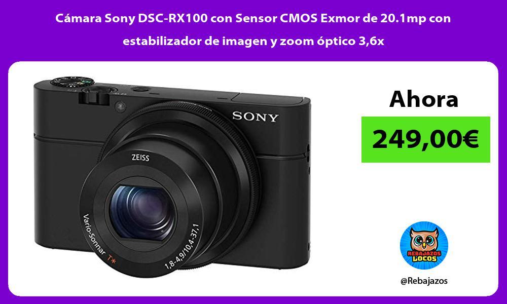 Camara Sony DSC RX100 con Sensor CMOS Exmor de 20 1mp con estabilizador de imagen y zoom optico 36x