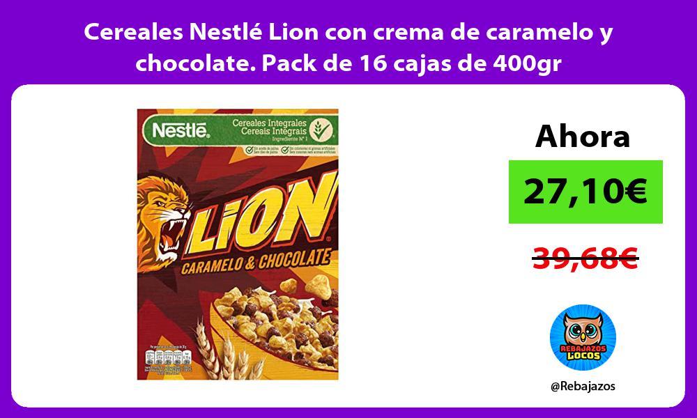 Cereales Nestle Lion con crema de caramelo y chocolate Pack de 16 cajas de 400gr