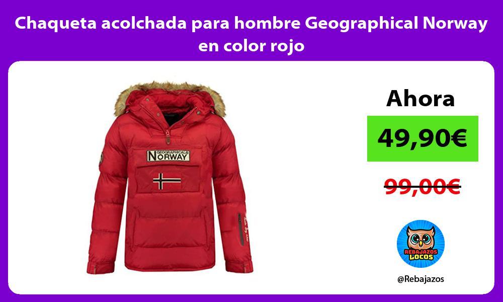 Chaqueta acolchada para hombre Geographical Norway en color rojo