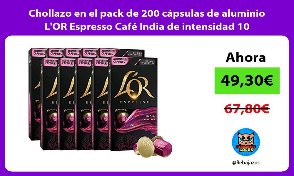 Chollazo en el pack de 200 capsulas de aluminio LOR Espresso Cafe India de intensidad 10