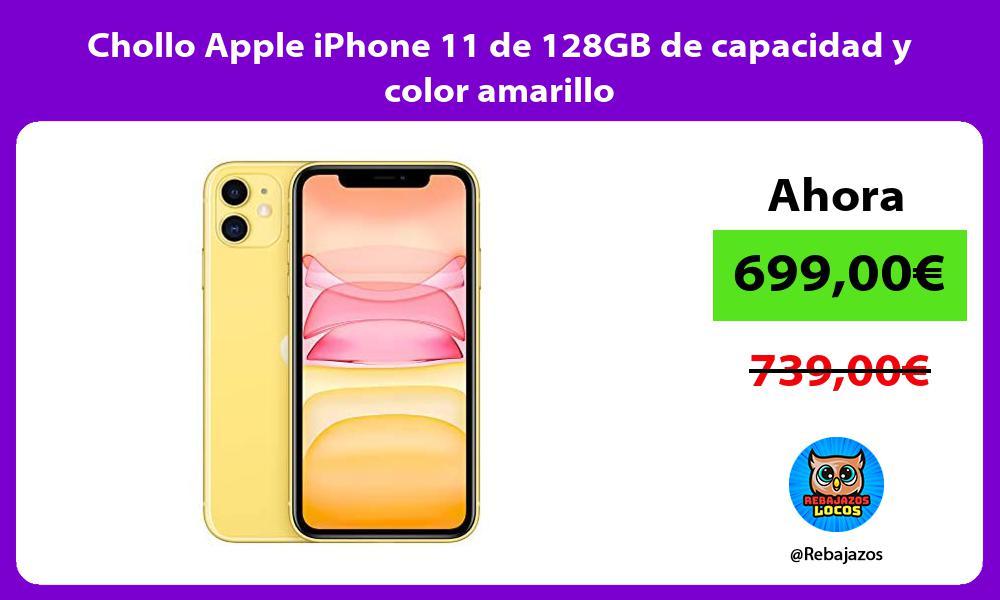Chollo Apple iPhone 11 de 128GB de capacidad y color amarillo