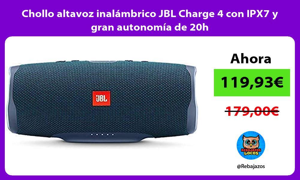 Chollo altavoz inalambrico JBL Charge 4 con IPX7 y gran autonomia de 20h