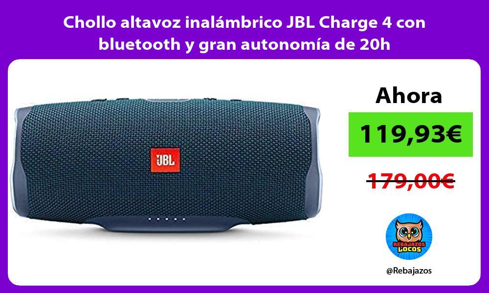 Chollo altavoz inalambrico JBL Charge 4 con bluetooth y gran autonomia de 20h