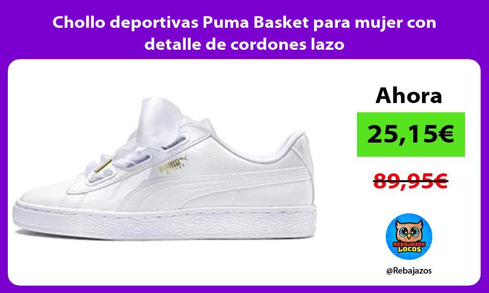Chollo deportivas Puma Basket para mujer con detalle de cordones lazo