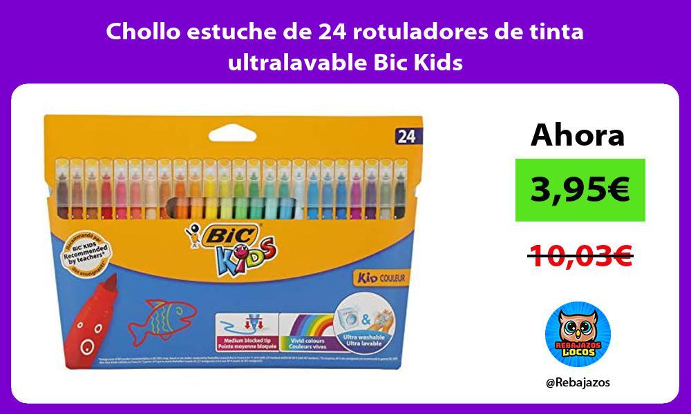 Chollo estuche de 24 rotuladores de tinta ultralavable Bic Kids