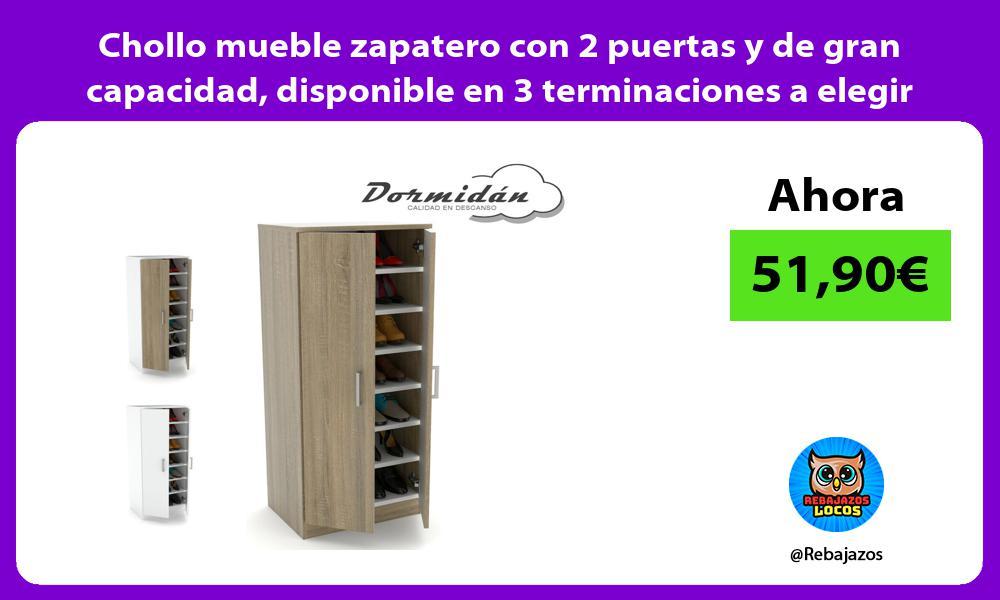 Chollo mueble zapatero con 2 puertas y de gran capacidad disponible en 3 terminaciones a elegir