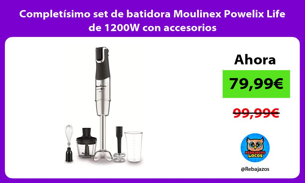 Completisimo set de batidora Moulinex Powelix Life de 1200W con accesorios