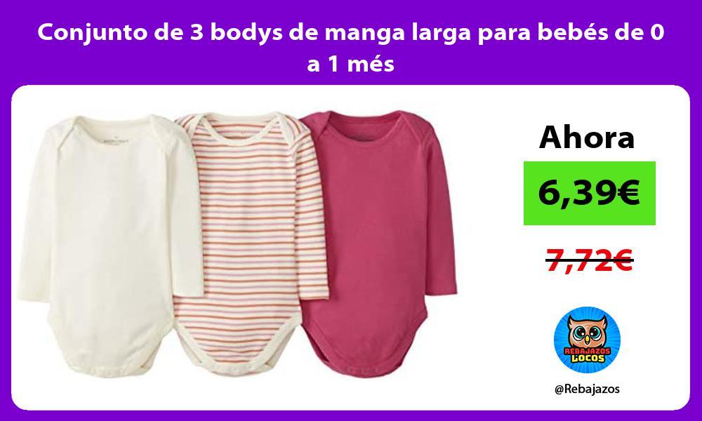 Conjunto de 3 bodys de manga larga para bebes de 0 a 1 mes