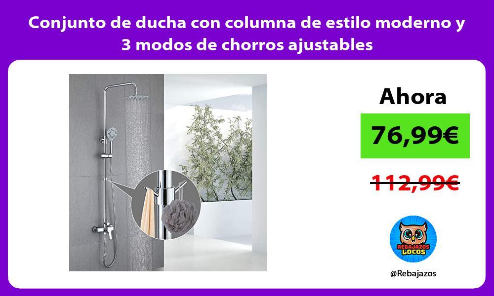 Conjunto de ducha con columna de estilo moderno y 3 modos de chorros ajustables