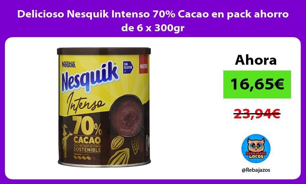 Delicioso Nesquik Intenso 70 Cacao en pack ahorro de 6 x 300gr