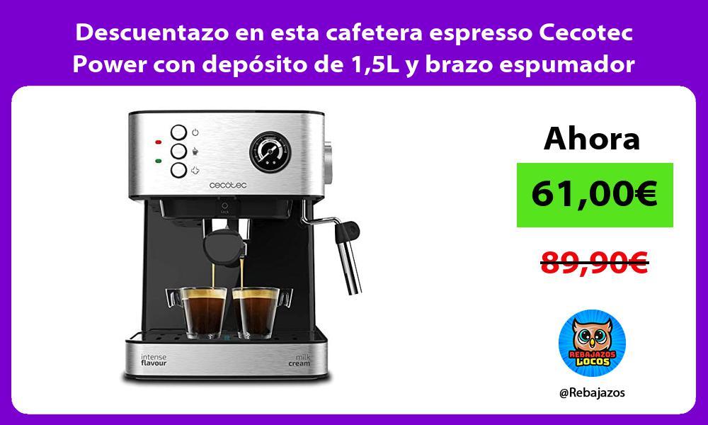 Descuentazo en esta cafetera espresso Cecotec Power con deposito de 15L y brazo espumador