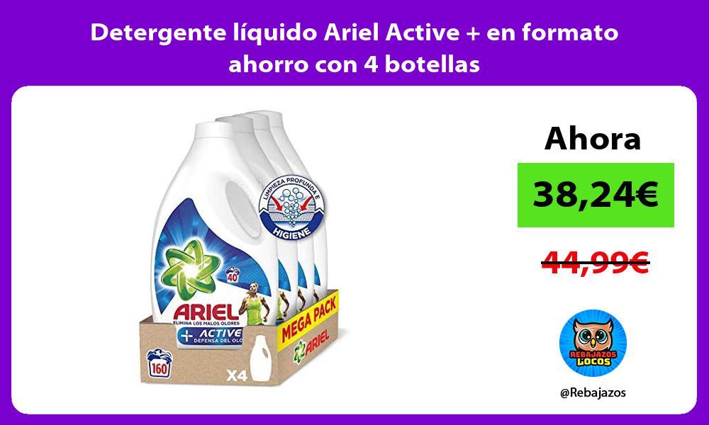 Detergente liquido Ariel Active en formato ahorro con 4 botellas