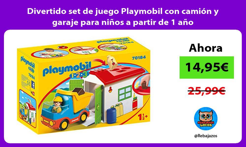 Divertido set de juego Playmobil con camion y garaje para ninos a partir de 1 ano